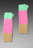 Juicy Couture Mohair Colorblock Fingerless Gloves