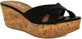 Fashion Focus Black Bee Crisscross-Strap Wedge Sandal