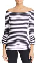 Three Dots Nantucket Stripe Off-the-Shoulder Top