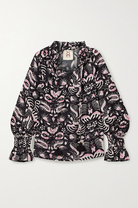 Figue Lianna Tasseled Printed Cotton-blend Voile Top - Black