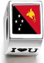 Soufeel 925 Sterling Papua New Guinea Flag Photo I Love U European Charms Fit European Bracelets