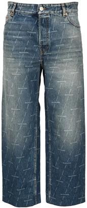 Balenciaga Allover Logo Cropped Jeans