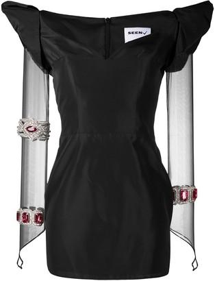Seen Users Embellished Sheer Sleeves Mini Dress