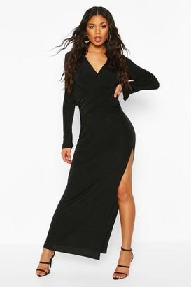 boohoo Textured Slinky Wrap Detail Split Maxi Dress