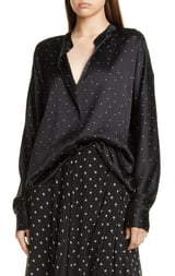Vince Dot Print Popover Silk Blouse