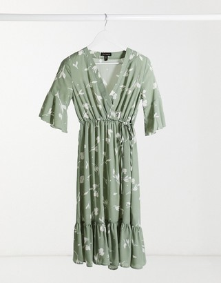 Qed London wrap midi dress with pephem in sage shadow floral