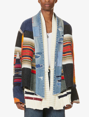 Greg Lauren Patchwork wool and cotton-blend jacket