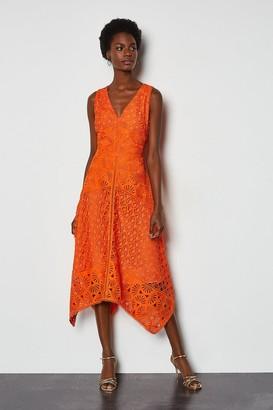Karen Millen Sleeveless Panelled Lace Midi Dress