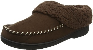 Dearfoams Womens Microsuede Clog with Whipstitch Tab and Memory Foam Low-Top Slippers