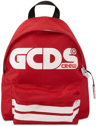 GCDS Logo Print Nylon Canvas Backpack