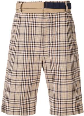 Sacai belted plaid shorts