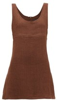 Lisa Marie Fernandez Zani Round-neck A-line Cotton Mini Dress - Womens - Brown