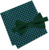 Tommy Hilfiger Men's Solid Bow Tie & Holiday Tree Print Pocket Square Set