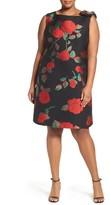Tahari Plus Size Women's Rose Jacquard Shift Dress