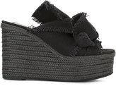 No.21 knot detail wedge sandals - women - Leather/Canvas/Foam Rubber - 36