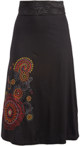 Aller Simplement Black & Red Swirl-Accent Band-Waist Skirt