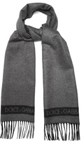 Dolce & Gabbana Bi-colour silk and cashmere-blend scarf