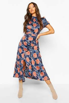 boohoo Rose Mixed Print High Neck Ruched Midaxi Dress