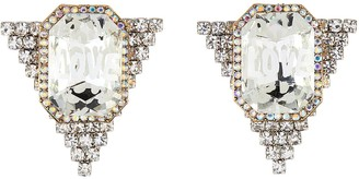 Venna Logo Centrepiece Triangular Crystal Stud Earrings