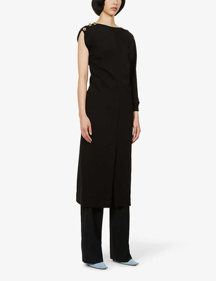 Givenchy One-sleeve button-embellished stretch-knit midi dress