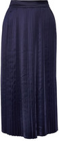 Elizabeth and James Lucy Pleated Satin Midi Skirt - Navy