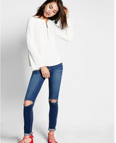 Express bell sleeve zip front blouse
