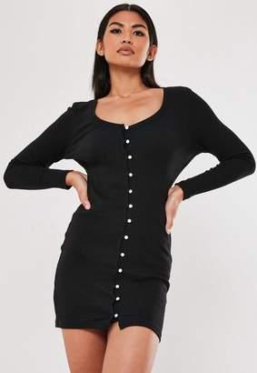 Missguided Black Ribbed Mock Pearl Long Sleeve Mini Dress