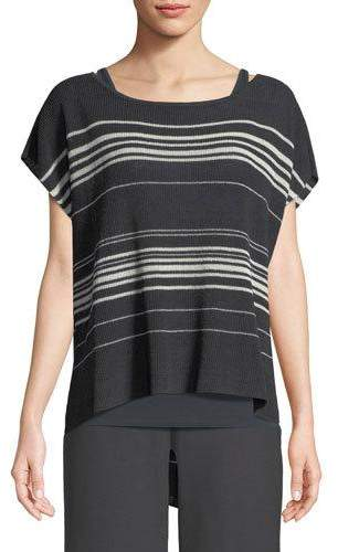 Eileen Fisher Striped Short-Sleeve Poncho Top, Petite