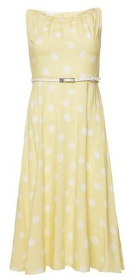 Dorothy Perkins Womens Billie & Blossom Yellow And White Spot Print Midi Skater Dress, Yellow
