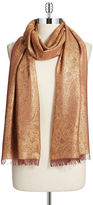 Lord & Taylor Metallic Paisley-Print Fringed Scarf