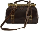 Dream Leather Bags Made in Italy Genuine Leather Genuine Leather Doctor Bag, 2 Front Buckles Color