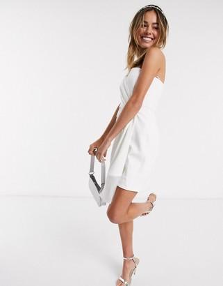Ever New asymmetric mini dress with fringe hem in white
