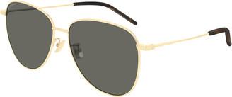Saint Laurent Semi-Round Metal Aviator Sunglasses