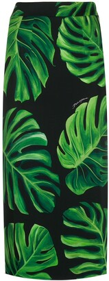 Dolce & Gabbana Philodendron print pencil skirt