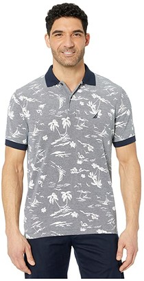 Nautica Pattern Polo (Blue) Men's Clothing