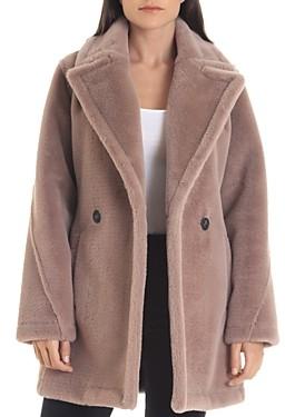 AVEC LES FILLES Faux Rabbit Fur Pea Coat