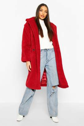 boohoo Oversized Teddy Faux Fur Longline Coat