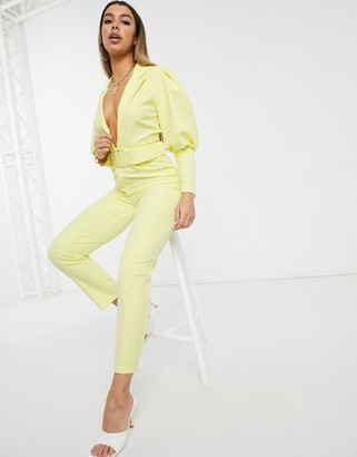 Asos DESIGN tux jumpsuit with puff sleeve detail and self belt in lemon