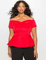 ELOQUII Plus Size Off the Shoulder Cross Front Peplum Top