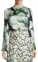 ADAM by Adam Lippes Bell-Sleeve Floral-Print Blouse, White Dahlia