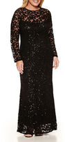 BLUE SAGE Blu Sage Long Sleeve Lace Sequin Evening Gown-Plus