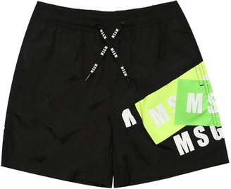 MSGM Logo Printed Nylon Shorts