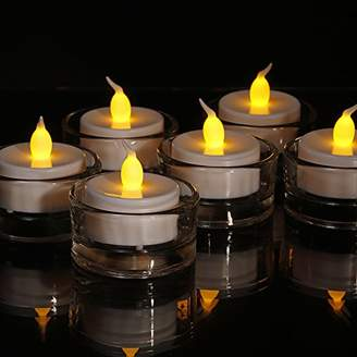DAY Birger et Mikkelsen Flameless LED Tea Lights - Realistic Flicker battery operated white candles with Amber flickering flame - Perfect for Valentines Day, Halloween, Christmas, Votive, Romance, Birthday decoration.