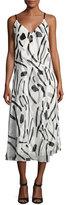 Diane von Furstenberg V-Neck Crossover Silk Dress, White Chatham Print
