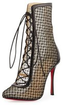 Christian Louboutin Lace 100mm Lace-Up Red Sole Bootie, Black