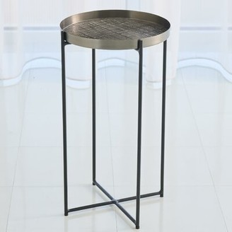 Global Views Plaid Etched Tray Table Table Top Color: Black Nickel