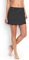 Lands' End Women's Long SwimMini Skirt Control-Black Dot