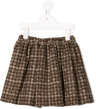 Douuod Kids Houndstooth Check Mini Skirt