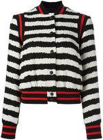 MSGM striped bomber jacket - women - Cotton/Linen/Flax/Polyamide/Viscose - 42