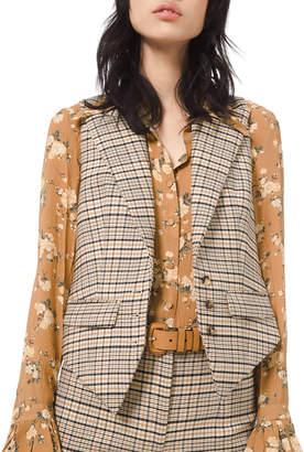 Michael Kors Plaid Stretch Wool Vest